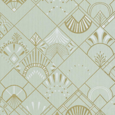 Papier peint GOLDEN YEARS vert amande et or - SCARLETT - Caselio
