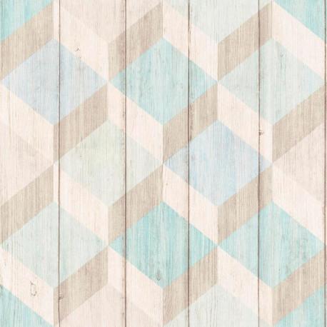 Papier peint à motif Cubes bois bleu vert - Collection INSPIRATION WALL - GRANDECO