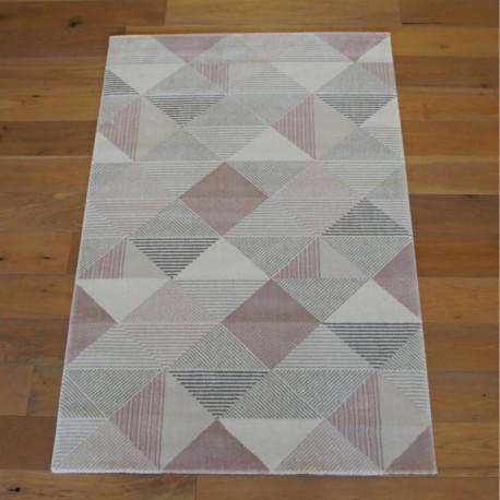 Tapis triangles gris et rose poudré - OPERA - Balta 140x200cm