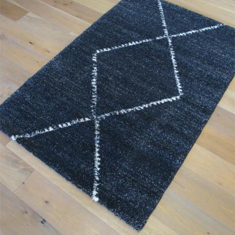 Tapis shaggy à motifs berbères losanges anthracite - 133x195cm - MEHARI Ragolle