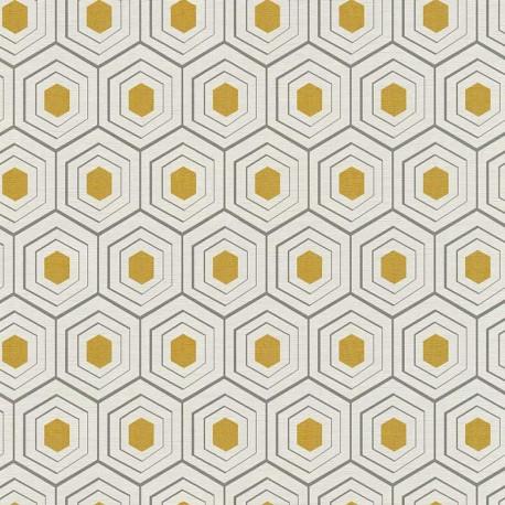 Papier peint vinyl sur intissé ALVEOLE or, beige, gris- FOUR SEASON - Lutèce