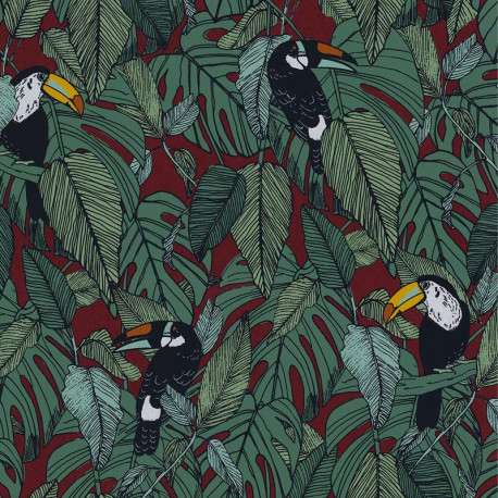 Papier peint intissé TOUCAN bordeaux - Collection PORTFOLIO - CASAMANCE