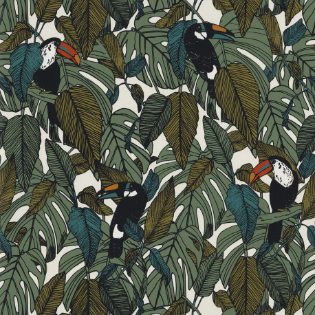 Papier peint intissé TOUCAN vert mousse - Collection PORTFOLIO - CASAMANCE