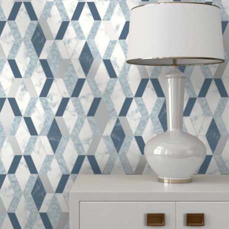 Papier peint vinyle motif hexagonal marbre et bleu - HEXAGONE - UGEPA