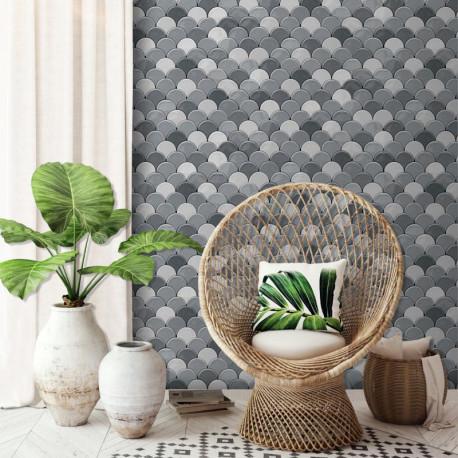 Papier peint Géométrique Ecaille gris - HEXAGONE - Ugepa - L59109