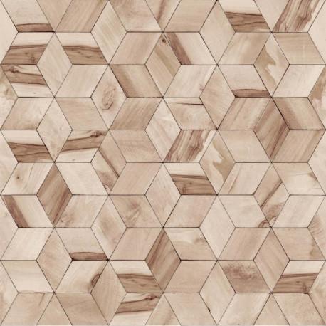 Papier peint vinyle géométrique marron effet de bois - HEXAGONE - UGEPA