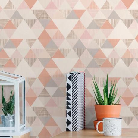 Papier peint à motif Triangles rose corail - Collection INSPIRATION WALL - GRANDECO