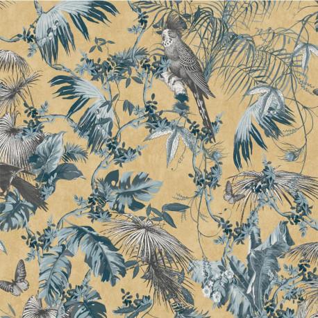 Papier peint vinyle foil à motif Tropical bleu et or - ESCAPADE Ugepa