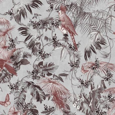 Papier peint Tropical rouge et argent - ESCAPADE - Ugepa - L69808