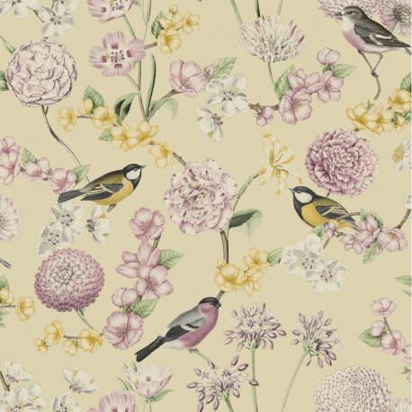Papier peint expansé motif Fleuri et Oiseaux - Rose/Jaune - Escapade Ugepa