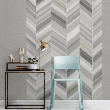 Panoramique Chevrons gris - INSPIRATION WALL - Grandeco - IW2301-MURALA