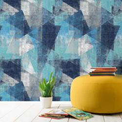 Papier peint Vincent fresque géométrique bleue - GRANDECO Life