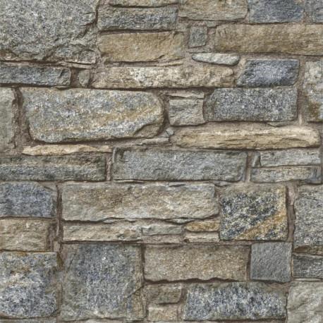 Papier peint Briques Chalet Stone trompe l'oeil - GRANDECO Life