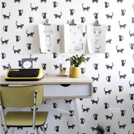 Papier peint Chatons noir et blanc - LITTLE BANDITS - Esta Home - 138928