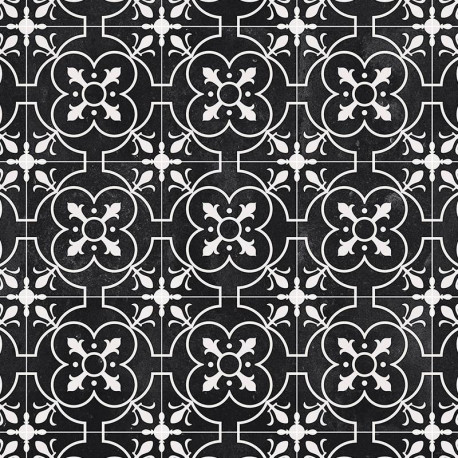 3 x 4m Sol PVC Lino Imitation Carreaux de ciment noir