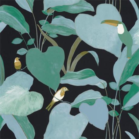 Papier peint Amazonia bleu nuit et vert  - L'ODYSSEE - Caselio
