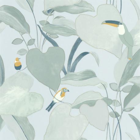 Papier peint Amazonia vert d'eau et jaune doré - L'ODYSSEE - Caselio