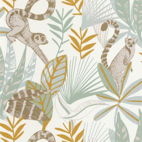 Papier peint Madagascar vert d'eau, jaune et doré - L'ODYSSEE - Caselio OYS101407218