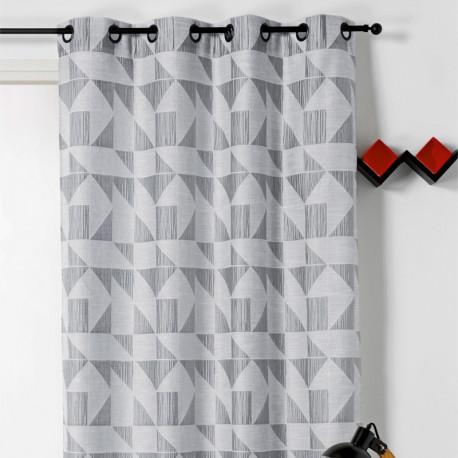 Rideau prêt-à-poser à motif géométrique gris - LOTO - Linder