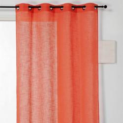 Voilage prêt-à-poser VERONICA en lin uni orange - Linder