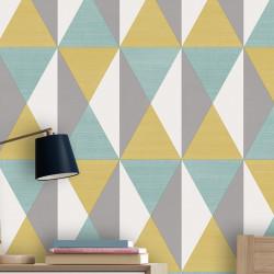 Papier peint motif géométrique Triangles bleu, jaune et gris - UGEPA