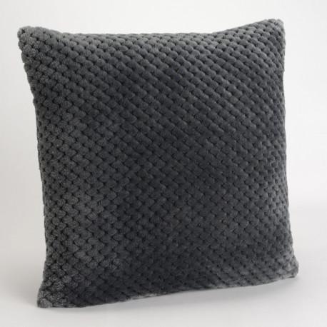 Coussin relief damier uni gris anthracite - 40x40cm - Amadeus