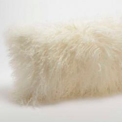 Coussin en poils d'agneau blanc - 30x50cm - Amadeus