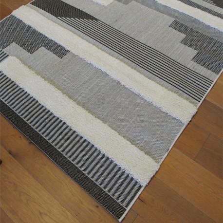 Tapis corde et shaggy Moderne écru, gris et noir - 160x230cm - RITUAL