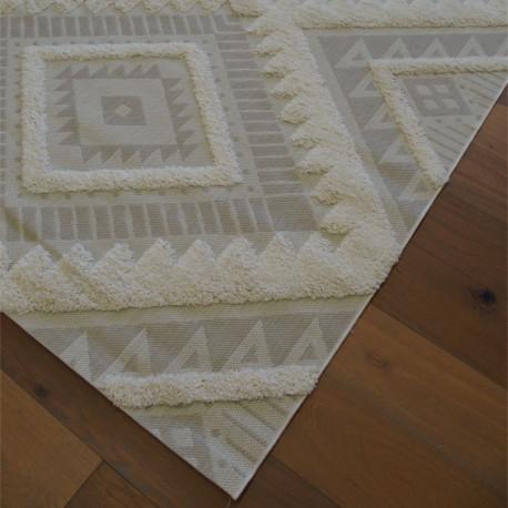 Tapis corde et shaggy Ethnique écru et beige clair - 160x230cm - RITUAL