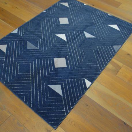 Tapis Géométrie à motifs triangles - bleu marine - 120x170cm - SHADE
