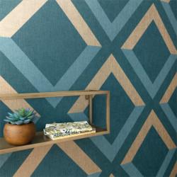 Papier peint Groove bleu madura et doré - MOOVE - Caselio MVE101346913