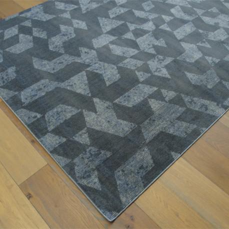 Tapis tout doux FLY gris à motif géométrique triangles - 200x290cm