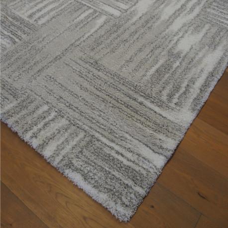 Tapis shaggy à motif moderne gris et blanc - 2 tailles - SHERPA