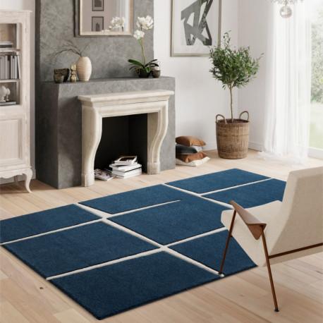 Tapis à motifs géométriques bleu marine et blanc - 120x170cm - Shuffle - BALTA