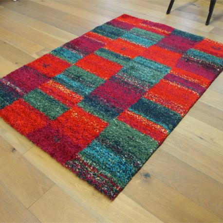 Tapis shaggy style orient carrés colorés - 140x200cm - SHERPA
