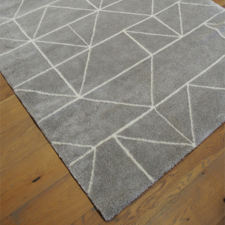 Tapis tout doux CHILL gris à motif géométrique blanc - 160x230cm