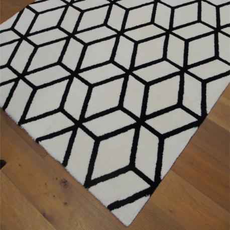Tapis tout doux PLAY cubes Géo 3D noir et écru - 160x230cm