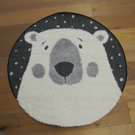 Tapis rond tête d'ours écru et noir - Diamètre 120cm - RICHIE