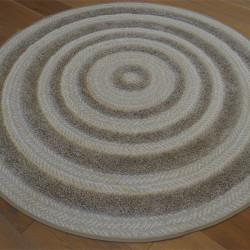 Tapis rond corde et shaggy Ethnique taupe et écru - 160cm - RITUAL