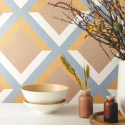Papier peint Groove bleu gris ocre terracotta - MOOVE - Caselio MVE101343030