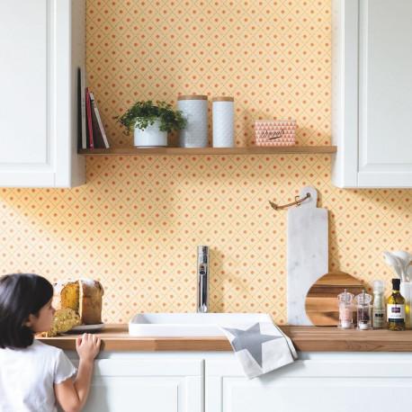 Papier peint Cocotte jaune - Au bistrot d'Alice - Caselio