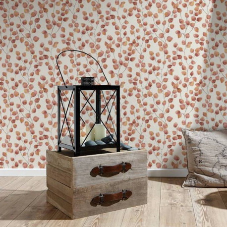 Papier peint Floral blanc orange rouge 370443 - Greenery - AS CREATION