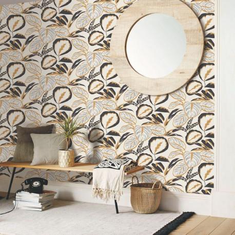Papier peint Exotic Leaves Or Noir -MOONLIGHT- Caselio MLG101082093