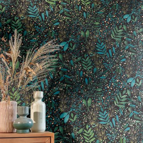 Papier peint Joy vert bleu or fond noir -GREEN LIFE- Caselio GNL101697692