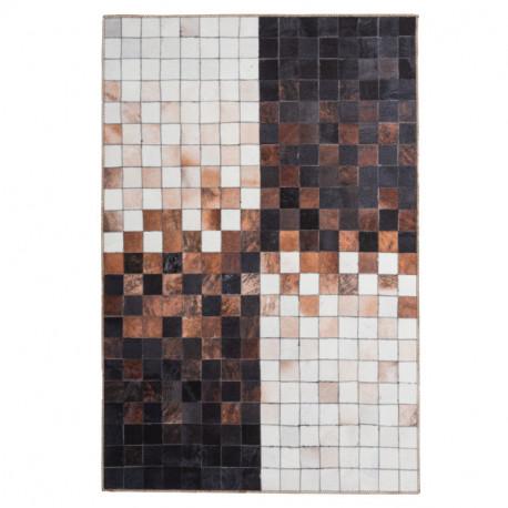 Tapis imitation peau de bête - Quadra bicolore marron - Bonanza 521