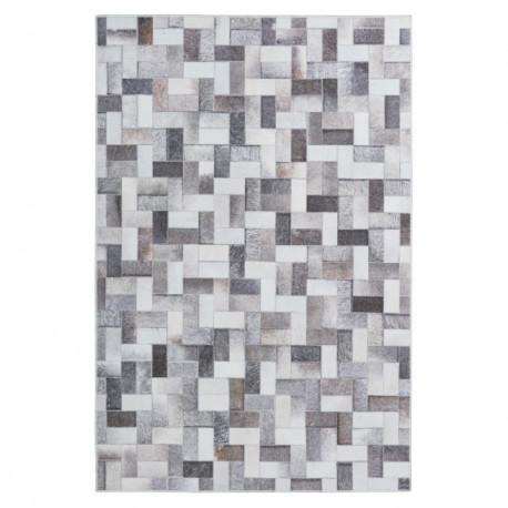 Tapis imitation peau de bête - patchwork Rectangles gris - Bonanza 525