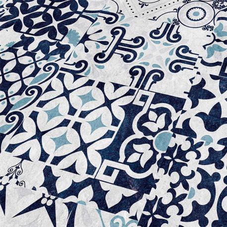 """FALQUON Quadraic """" Q013 Agura """" Carreaux de ciment bleu et blanc - lames stratifiées à clipser"""