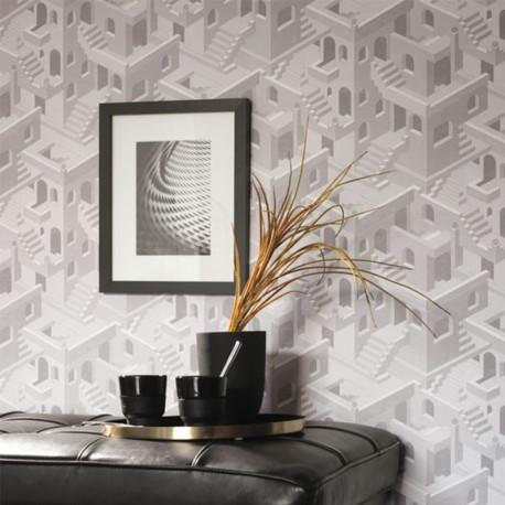 Papier peint Illusion Blanc Gris -UTOPIA- Casadeco UTOP85110464