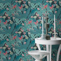 Papier Peint Urban Jungle Bleu -CLUB BOTANIQUE- Rasch 538939
