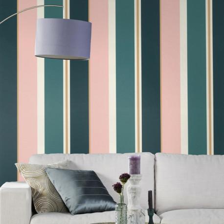 Papier peint Rayures Bleu Rose Or -CLUB BOTANIQUE- Rasch 539011